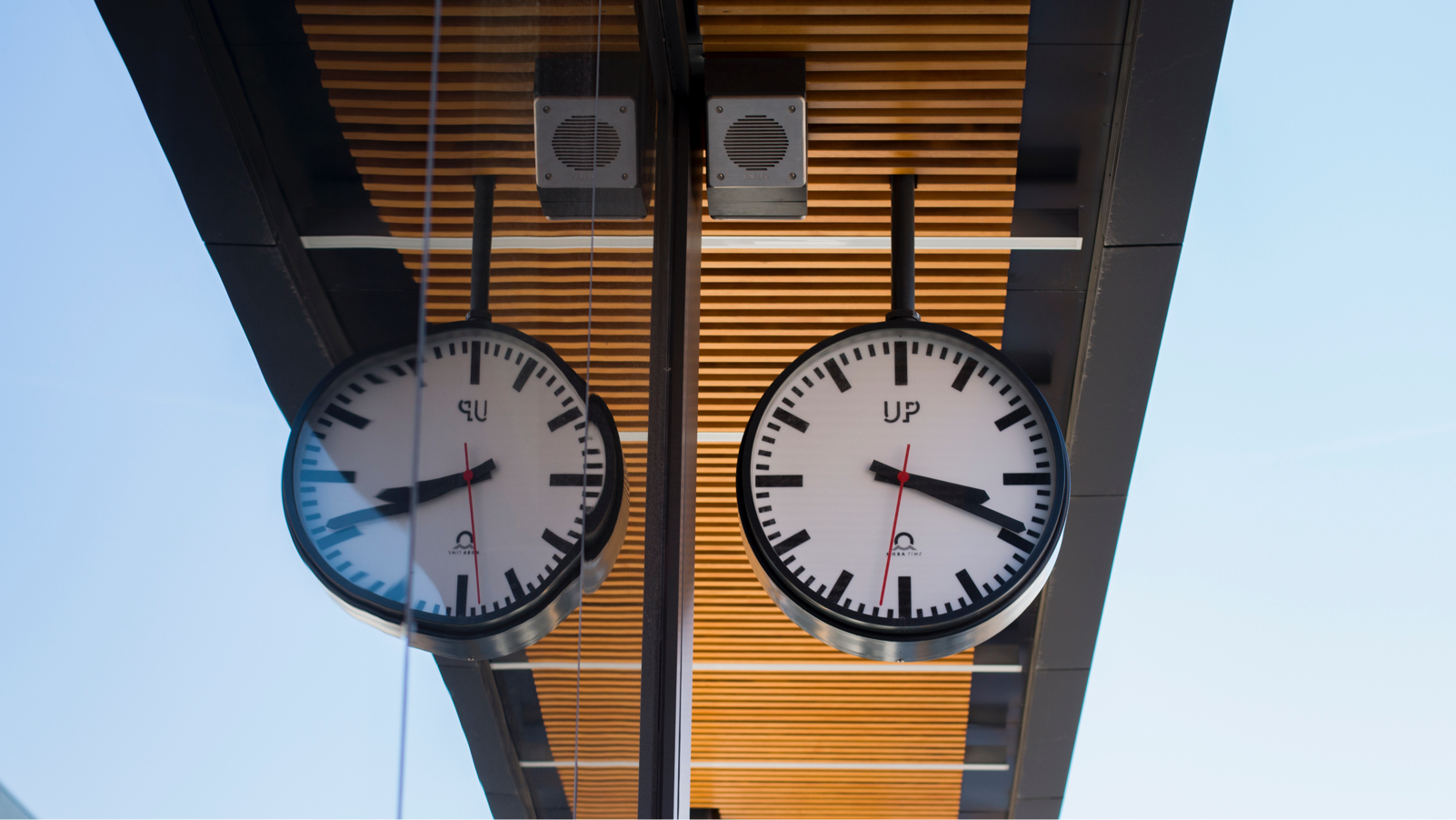 Clocks at a station